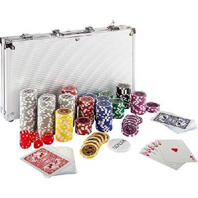 Maxstore Coffret de Poker Ultime - 300 jetons Lasers 12 g avec Insert en métal - 2 Jeux de Cartes - 5 dés - 1 Bouton Dealer - Mallette en Aluminium