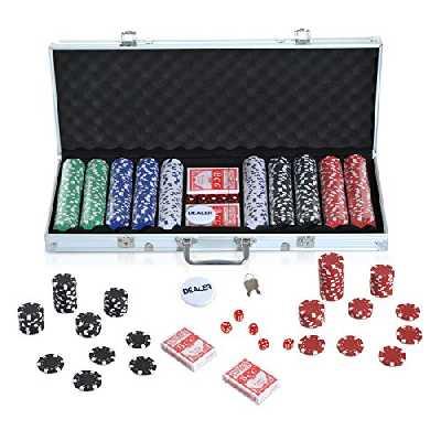 Malette Professionnelle de Poker 500 jetons 2 Jeux de Cartes 5 dés Bouton Dealer 2 clés alu